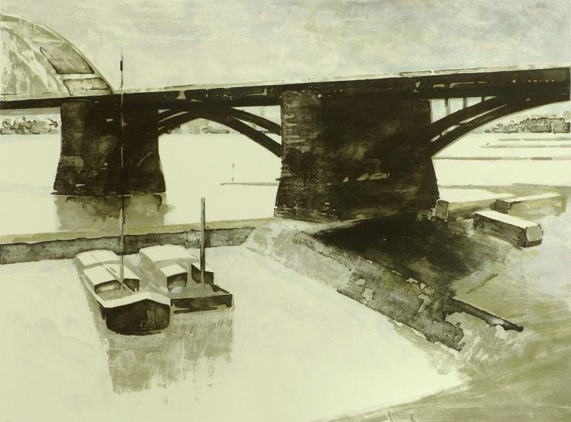 Intermedi-Art galerie kunstuitleen Nijmegen, Ardi Brouwer, Waalbrug (Under the bridge)